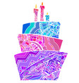 greeting card with coloring cake vector image vector image