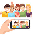 group selfie on smartphone young happy people vector image