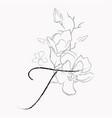 handwritten line drawing floral logo monogram t vector image vector image