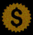 hexagon halftone bank seal icon vector image