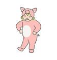 kid girl in fancy dress of pink pig dancing and vector image vector image