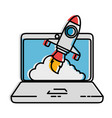laptop computer with rocket launcher vector image vector image