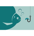 Large fish looking at a worm vector image vector image