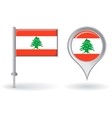 Lebanese pin icon and map pointer flag vector image
