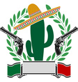 mexican cactus and two pistols and laurel wreath vector image