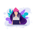 millennial concept girl working with laptop vector image vector image