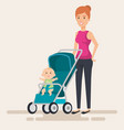 mom with little baby in cart characters vector image