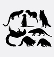 Mongoose and racoon mammal animal silhouette vector image