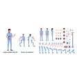 nurse in uniform character set body parts flat vector image vector image