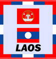 official ensigns flag and coat of arm of laos vector image vector image
