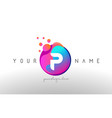 p dots letter logo with bubbles a letter design vector image vector image