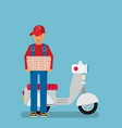 pizza delivery by courier with scooter flat vector image vector image
