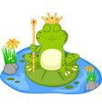 prince frog cartoon sitting on a leaf vector image