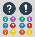 question and attention icons on grey background vector image