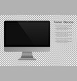 realistic computer monitor isolated background vector image vector image