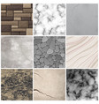 realistic stone texture patterns collection vector image vector image