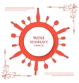Red silhouettes of wine attributes on an vector image
