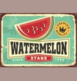 retro sign ad for watermelons stand vector image vector image