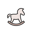 rocking horse flat color icon isolated on white vector image vector image