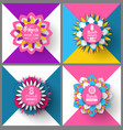 round origami with flowers womens day vector image vector image