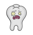 scared funny tooth cartoon character vector image vector image