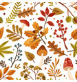 seamless pattern with autumn leaves and tree vector image vector image