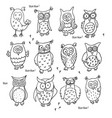 set of cute cartoon wise owls isolated on white vector image vector image