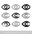 Set of hand-drawn stroke human eye icons vector image vector image