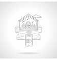 Smart house media detailed flat line icon vector image