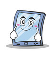 smile face tablet character cartoon style vector image vector image
