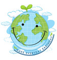 smiling earth day poster vector image vector image