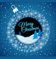 square blue christmas card white christmas ball vector image vector image