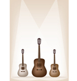 Three Beautiful Guitar on Brown Stage Background vector image vector image