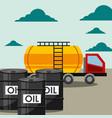 transport truck tanker and barrels oil industry vector image