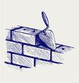 Trowel and bricks vector image vector image