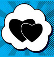 two hearts sign black icon in bubble on vector image vector image