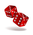 two red falling dice isolated on white vector image vector image