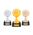 winner volleyball awards set gold silver bronze vector image vector image