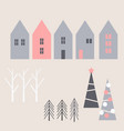 winter christmas houses and trees vector image vector image