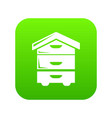 wood beehive icon green vector image vector image