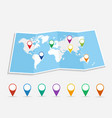 World map with geo position pins EPS10 file vector image vector image