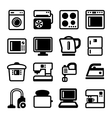 Household Appliances Icons Set on White Background vector image