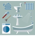 Pipeline plumbing icons in flat style vector image