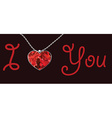 Valentines Day heart pendant red background text i vector image