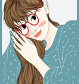 a cartoon woman wearing glasses vector image