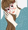 a cartoon woman wearing glasses vector image vector image