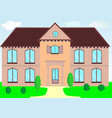 a two-storey house in light colors with a lawn vector image vector image