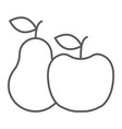 apple and pear thin line icon food and vitamin vector image