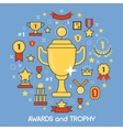 Awards and Trophy Thin Line Art Icons vector image vector image