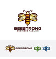 bee strong logo design vector image vector image